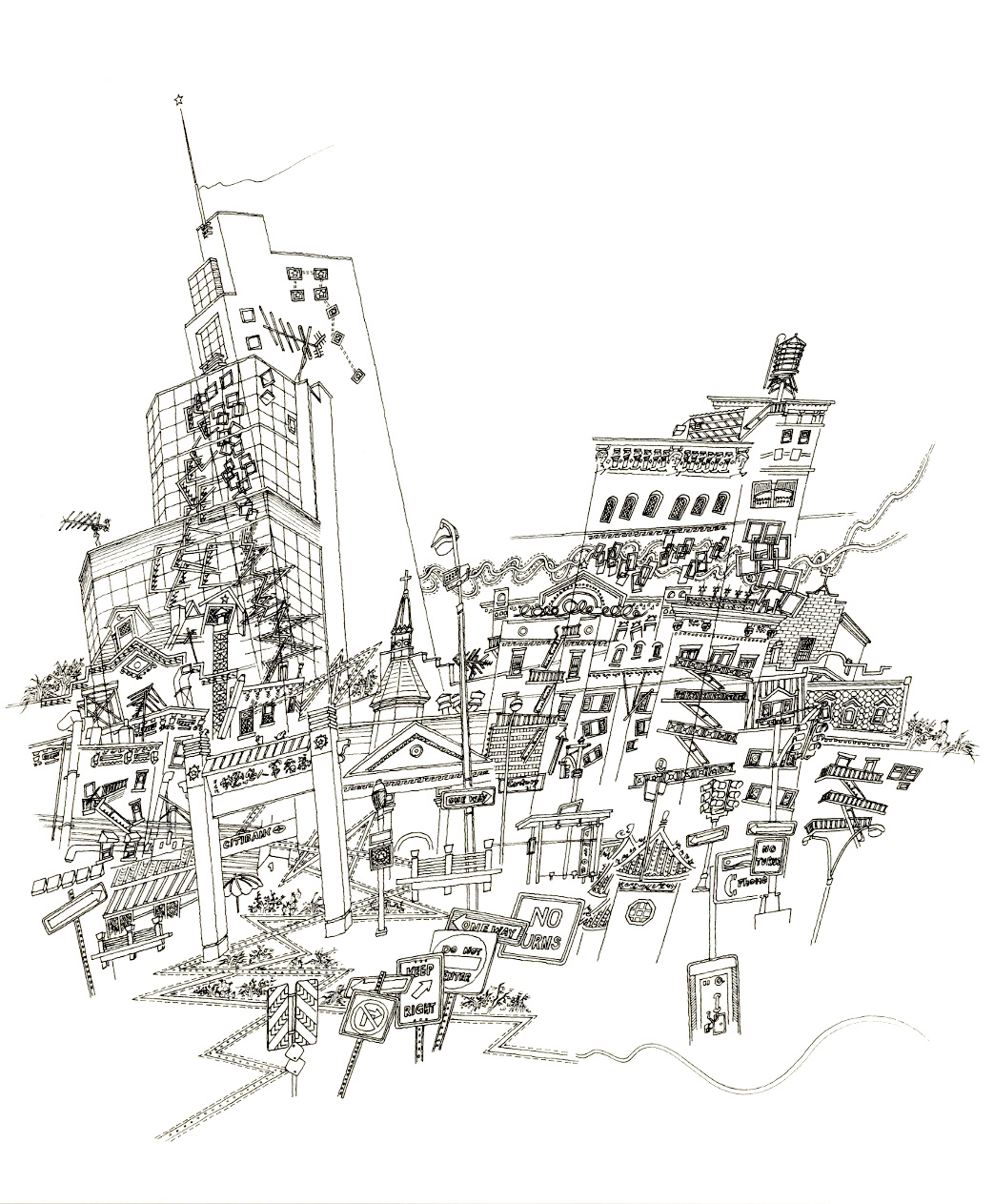 New York 紐約 ( 1999 ) line drawing on paperWork Anniversary Images